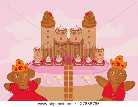 cute funny castle with candy , vector illustration
