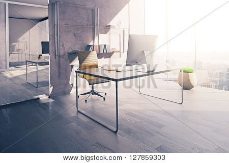 Workplace in sunlit office interior with mirror wooden floor and concrete wall. 3D Rendering