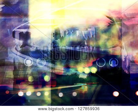 abstract double exposured urban background paintings and pictures mixed media used night city trafic colorful abstract