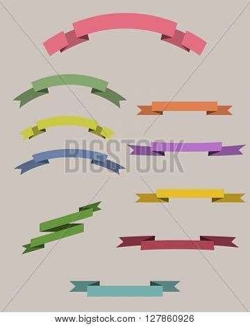 Flat vintage ribbons labels set. 