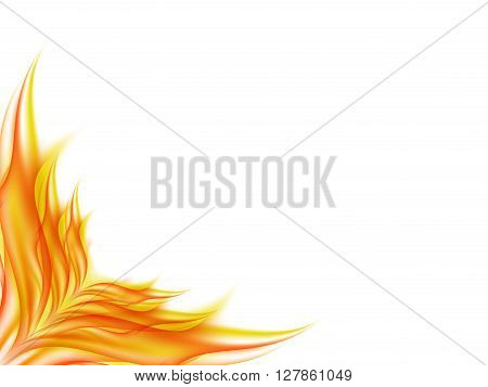 Background with abstract flower in red and yellow tones in the lower corner of the image, the clearance angle of the picture in lines of red and yellow tones, vector illustration