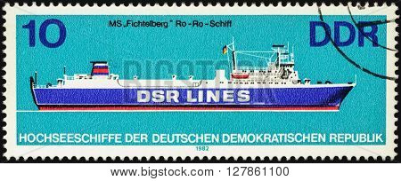 MOSCOW RUSSIA - APRIL 27 2016: A stamp printed in GDR (East Germany) shows Ro-Ro ship