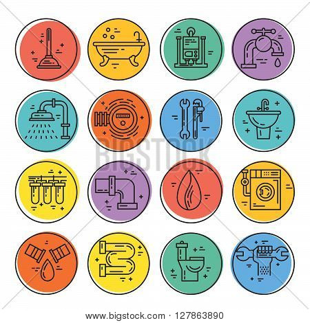 Vector collection of plumbing icons. Plumbing and handyman service symbols made in line style vector. Modern illistrations of pipe leak faucet fixing and other repair services. poster