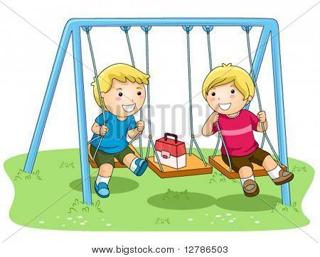 Children on Swing In the Park - Vector