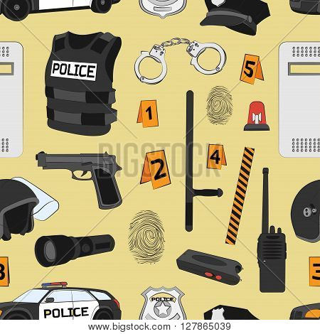 Policeman, police department, police uniforms, police car. Police. Safety concept pattern Vector set