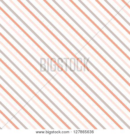 Diagonal stripe seamless pattern. Geometric classic pink, cream and beige line background.