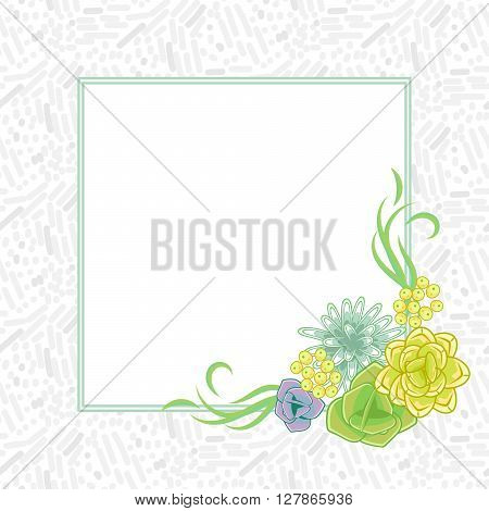 Flower square card template vector. Mums, roses and succulents corner wedding invitation or greeting card design. Green and purple violet flower decor.