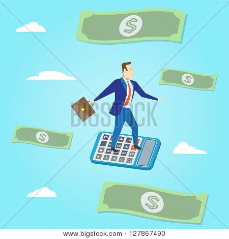 Businessman flying with paper money and clouds on blue background. Vector illustration. Business concept.