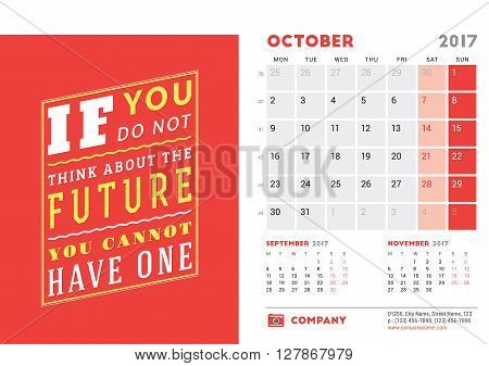 Desk Calendar Template For 2017 Year. October. Design Template With Motivational Quote. 3 Months On