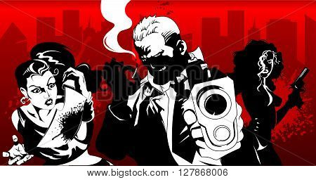 man and women in black suits with a weapon vector illustration