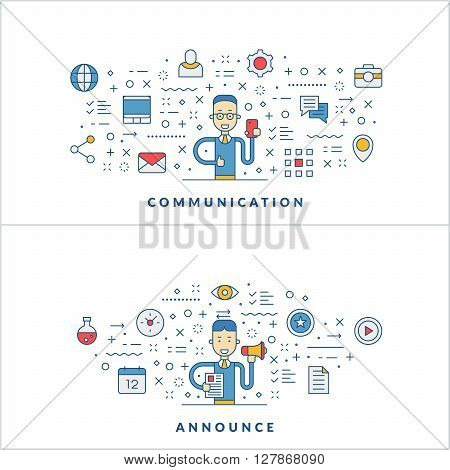 Communication. Announce. Flat line icons and businessman cartoon character. Business concept. Vector thin line illustration for website banner template or header