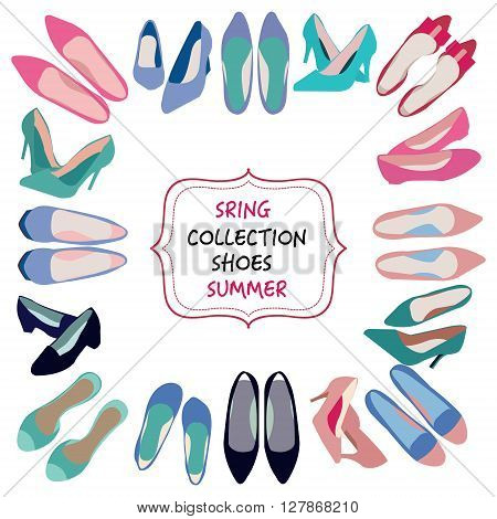 Background of shoes collection. illustration of hand drawn fashion Spring summer collection of women shoes. Doodle sketch background for shoes shop.