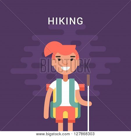 Hiking Concept. Smiling Young Girl with Backpack and Stick for Hiking