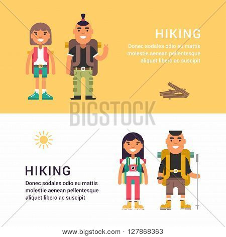Hiking and Picknic. Set of Flat Style Vector Illustrations for Web Banners or Promotional Materials. Smiling Young Man and Girl with Backpack and Stick for Hiking