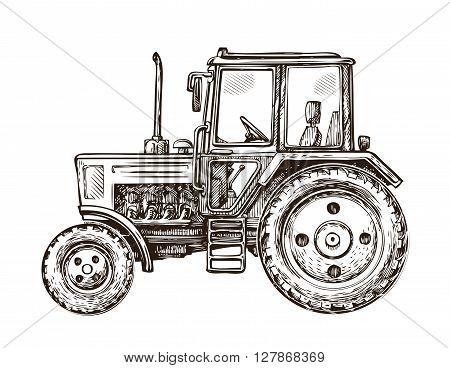 Farm tractor sketch. Hand drawn vector illustration