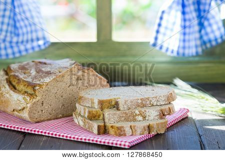 Bread bar rustic on the table by the window