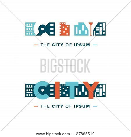 Vector Colorful City Logo Type Template Creative Design for Real and Land Estate, Urban and Europe Style Night Life