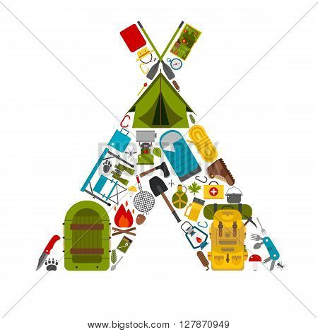 Camping icons in tourist tent shape. Love hiking concept with vector hiking elements. Summer outdoor activity and travel. Water hike or boat trip equipment. Backpacking tourism gear and appliances.