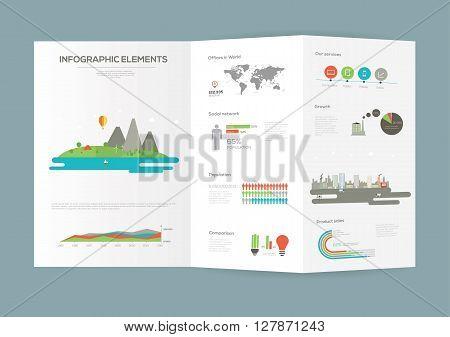 Eco Infographic Brochure elements. Flat vector illustration.