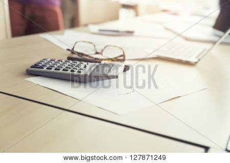 Eyeglasses, Calculator, Business Document And Computer Notebook, Vintage Tone