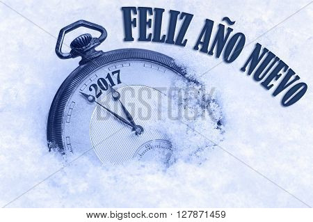 2017 greeting, Happy New Year in Spanish language, Feliz ano nuevo text