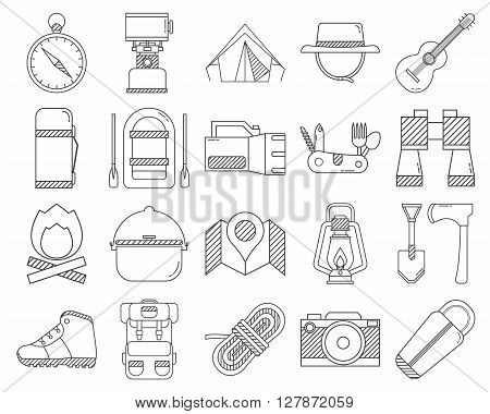 Camping outline icons collection. Hike outdoor elements set in thin line design. Hiking gear and essentials lineart collection. Vector linear camp equipment pictograms isolated on white background.