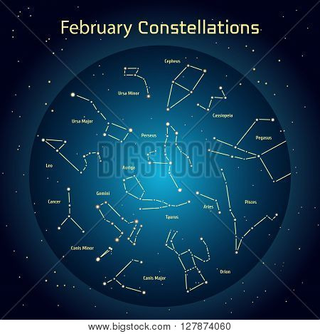 Vector illustration of the constellations of the night sky in February. Glowing a dark blue circle with stars in space Design elements relating to astronomy and astrology