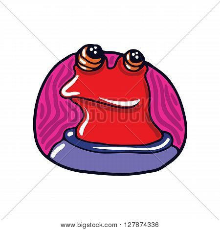 Portrait of a red amphibian alien. Fictional creature from another planet. Vector cartoon character.