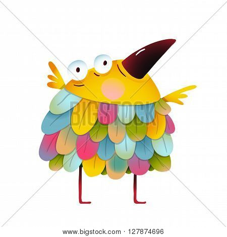 Amazing brightly colored small birdie. Funny cute child greeting card design. Vector illustration.