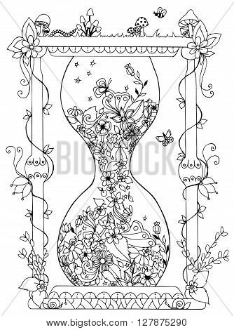 Vector illustration zentangl hourglass with flowers. Time flowering spring doodle. Coloring Book for adult anti-stress. Adult coloring book.