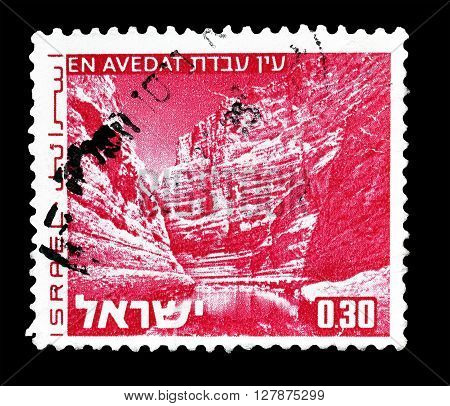 ISRAEL - CIRCA 1971 : Cancelled postage stamp printed by Israel, that shows En Avedat.