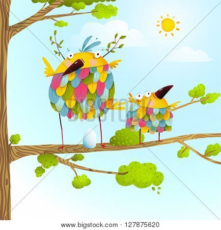 Colorful bird family mother and child greeting card. Bird parent funny love child wild nature design. Vector illustration.