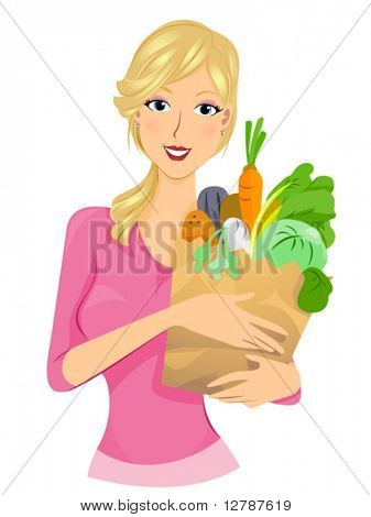 Girl with Vegetables - Vector