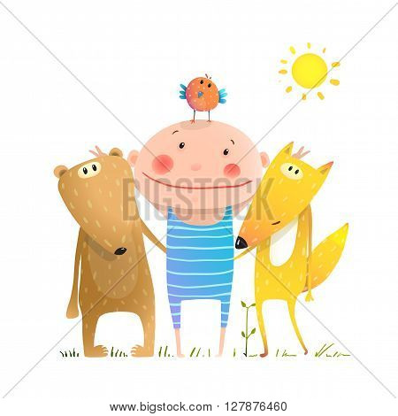Kids smiling cute friendship portray brightly colored cartoon, vector illustration.