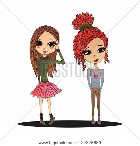Cute Colorful Vector Fashion Kids Illustration with Cute Fashion Kids Wearing Stylish Clothes Pretty School Girls for Fashion Magazines Books Illustration or Web Design Fashion Vector Teen Kids