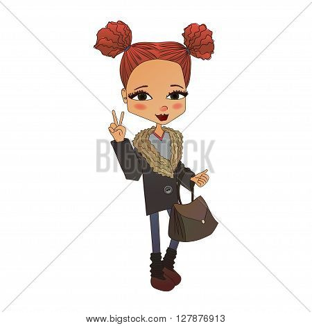 Cute Colorful Vector Fashion Girl Illustration with a Cute Fashion Kid Wearing Stylish Clothes Pretty School Fashion Girl for Fashion Magazines Books Illustration or Web Design Vector Fashion Kid