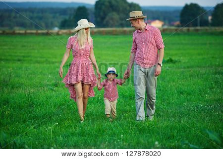 photo of happy family in country style