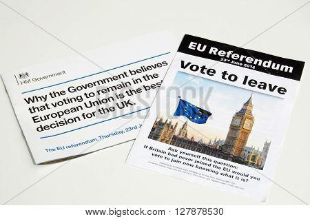 LONDON UK - May 1 2016: Leaflets promoting the leave and remain sides of the EU Referendum campaign. The vote is due to take place on June 23rd 2016.