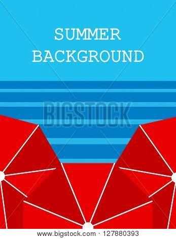 summer background with three   umbrellas  sea or ocean. flat. vector