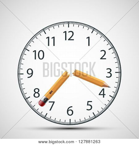 Watch dial with a broken pencil. Nervous tension and stress. Deadline. Stock vector illustration.