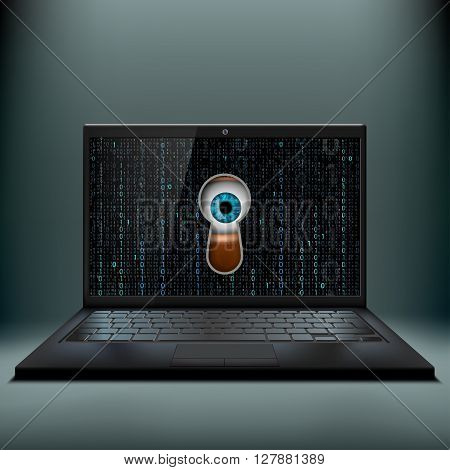 Human eye in the keyhole and a laptop. Cybercrime. Stock vector illustration.