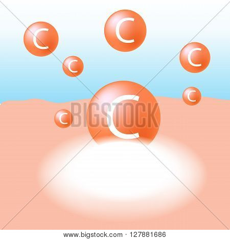 Vitamin C absorb on the human skin with white glow light absorption infographic vector