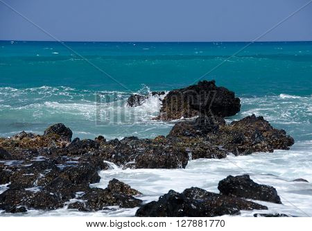 Morning Surf Breaks On Rocks Of Puako Beach - 5