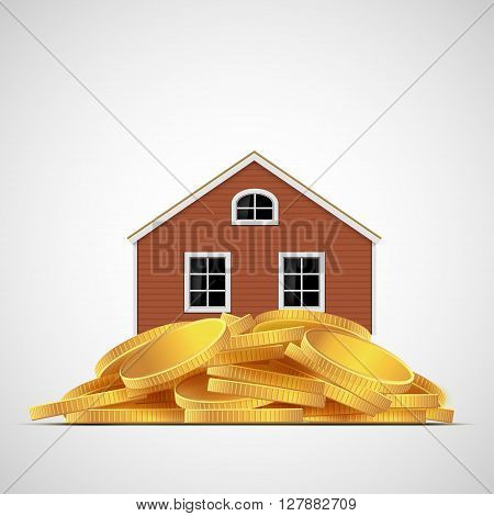House stands on a pile of gold coins. Real estate valuation. Stock vector illustration.