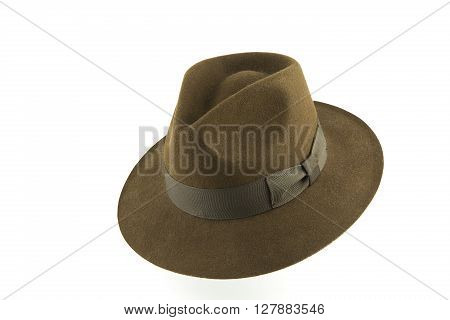 portrait of a vintage style fedora hat