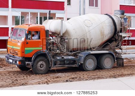 PERM RUSSIA - MAY 15 2015: Concrete mixer on construction site of largest builder of Perm - Factory of silicate panels