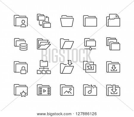 Simple Set of Folders Related Vector Line Icons. Contains such Icons as Repository, Sync, Network Folder and more. 48x48 Pixel Perfect.