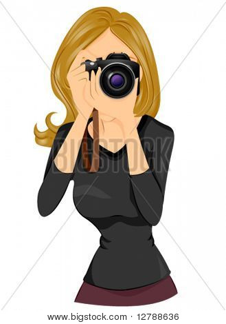 A Woman taking a Photo using a DSLR - Vector
