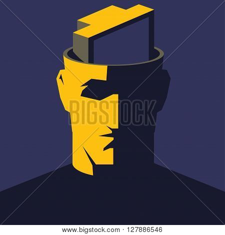 TV addicted. Male open head with TV set inside. Mass media influence concept vector illustration.