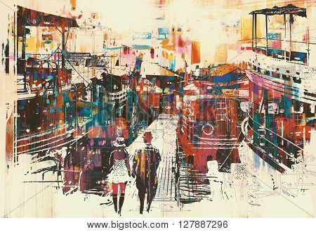 couple walking on harbor pier with colorful boats, illustration painting